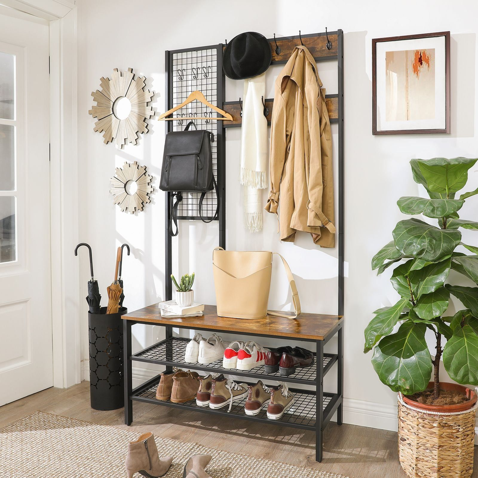 Entryway Storage Industrial Design Idea 1000 In 2020 Entryway Storage Coat And Shoe Storage Hall Tree