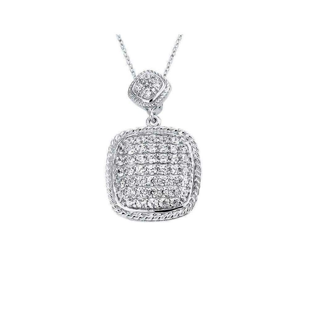 Cubic Zirconia Pave Cushion Pendant Yellow Gold-Tone Plated 925 Sterling Silver
