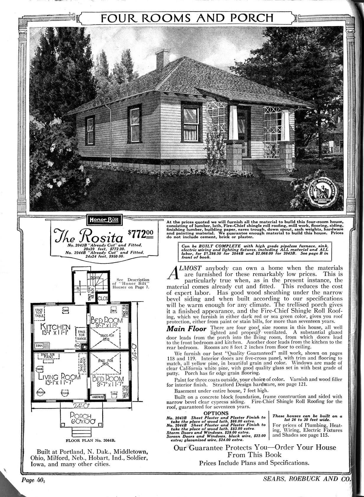 "The Rosita, Sears ""Honor Bilt"" kit house 1922. Really looks like our Sears  house, minus the modifications. And ours has a date on the trim 1937."