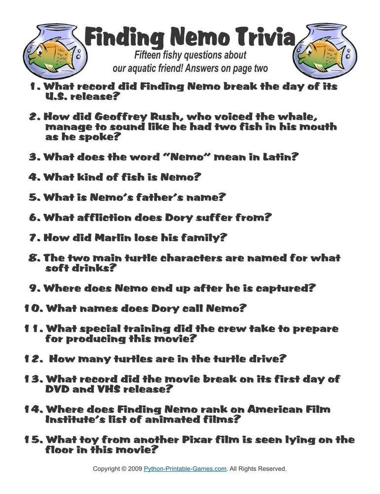 Pop Culture Games: Finding Nemo Trivia, $1.95 | Pop Culture ...