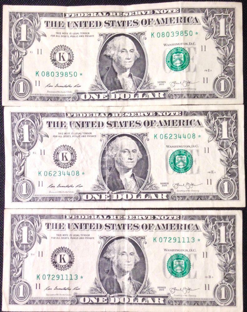 lot of 3 2013 series us federal reserve 1 one dollar bills star