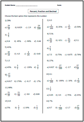 Convert Between Fraction Decimal And Percent Worksheets Decimals Fractions Worksheets Fractions