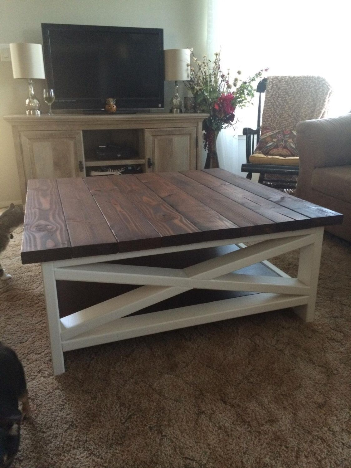 Rustic X Coffee Table by RusticAndWild on Etsy https://www.etsy.com/listing/252334984/rustic-x-coffee-table