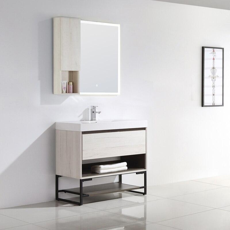 015 Series 36 Bathroom Vanity W Polymarble Top Mount Basin Metal Base Shelf Led Mirror Wall Cabinet Modern Bathroom Vanity Wall Cabinet Vanity