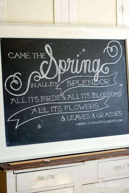 Spring Chalkboard Art with Printable Template Pinterest - chalkboard writing template