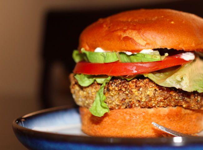 crunchy quinoa black-bean burger