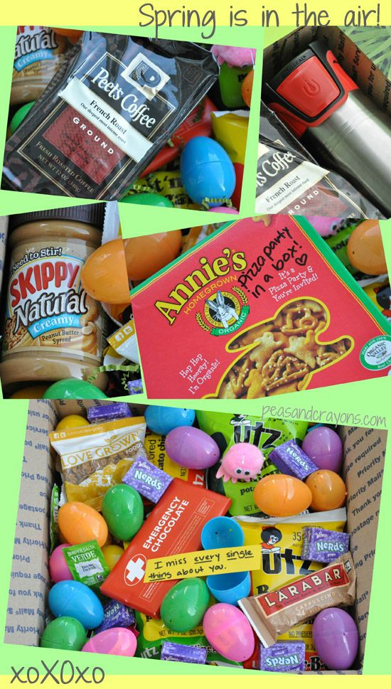Military care package ideas care package lovin military easter care package lovin love the idea of including a magazine with notes on stickies to share ideas about articles make jokes fun negle Image collections