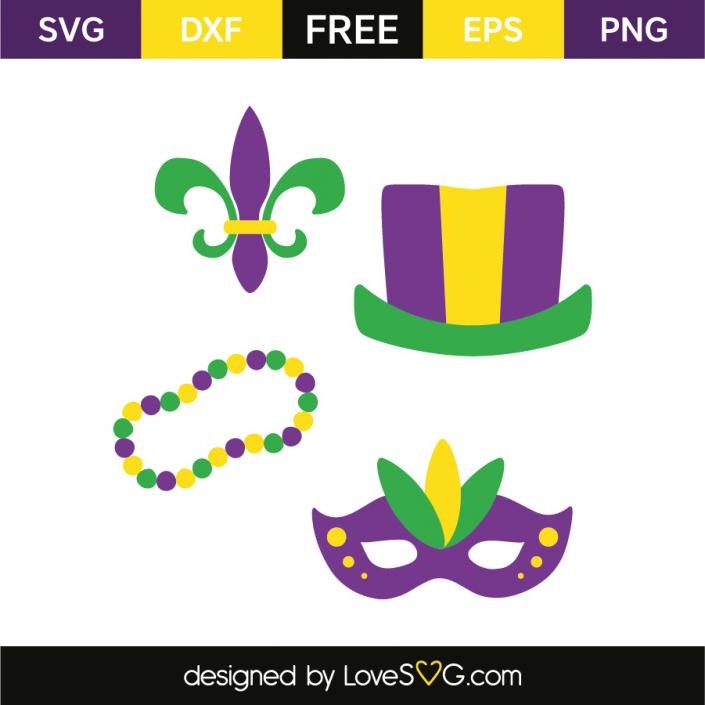 Mardi gras Hat, beads necklace, mask & fleur de lis