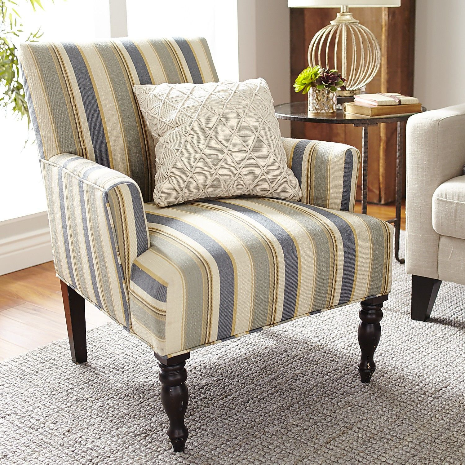 Liliana Surf Blue Striped Armchair | Armchairs, Surf and Bald hairstyles