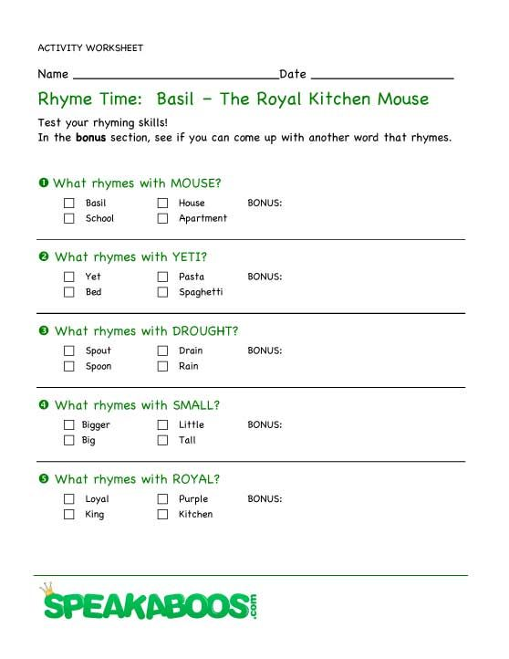 Rhyme Time Basil The Royal Kitchen Mouse Speakaboos