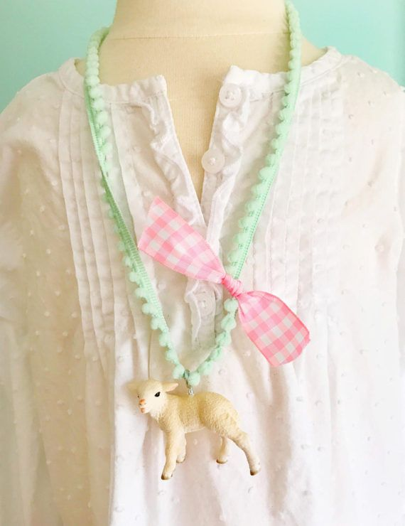 Easter necklace easter gift lamb necklace kids jewelry girls easter gift lamb necklace kids jewelry girls necklace gifts for easter basket lamb jewelry girls easter necklace negle Images