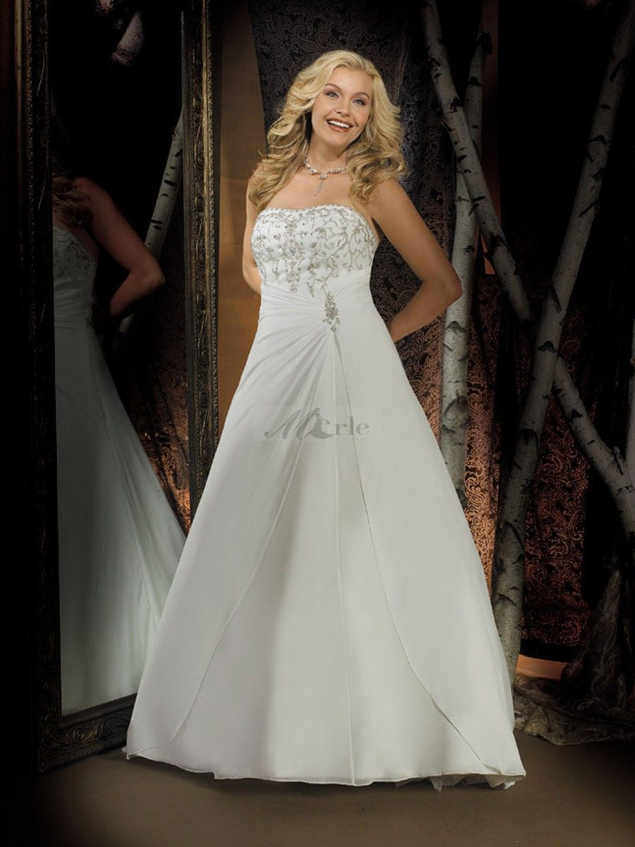 A line strapless embroidery sleeveless sweep brush train chiffon a line strapless embroidery sleeveless sweep brush train chiffon wedding dresses ombrellifo Gallery