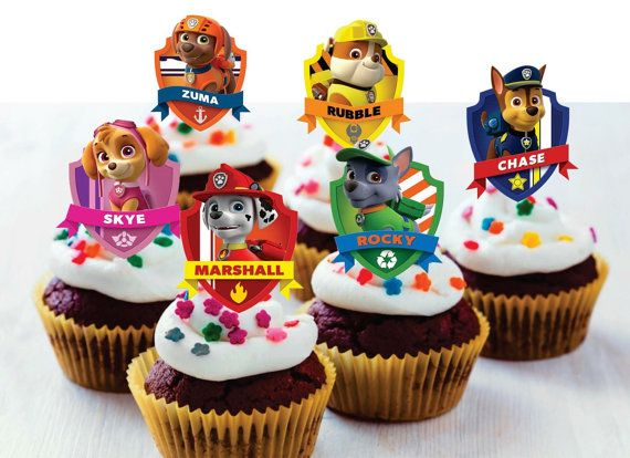 24 PAW PATROL CUPCAKE TOPPERS//PICKS-BIRTHDAY CUP CAKE PICK-PUPS//SKYE//CHASE//ROCKY