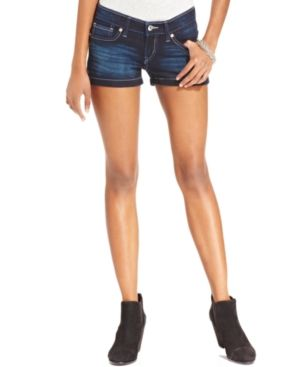 $29, Navy Denim Shorts: Levi's Juniors Shortie Dark Wash Denim Shorts. Sold by Macy's. Click for more info: https://lookastic.com/women/shop_items/43470/redirect