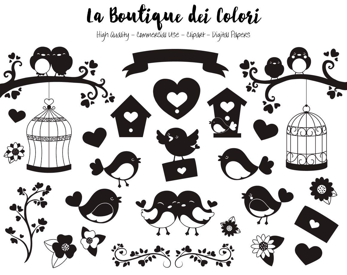 Silhouette Valentine S Day Birds Clipart Cute Digital