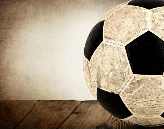 Vintage Soccer Ball On Wood Half View Photo Print Decorating Ideas