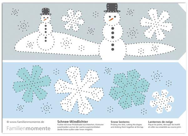 schnee windlichter zum prickeln bastelbogen mit zwei. Black Bedroom Furniture Sets. Home Design Ideas