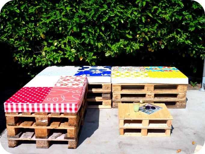 matelas diy en toile cire pour banquette palette - Toile Ciree Pour Table De Jardin