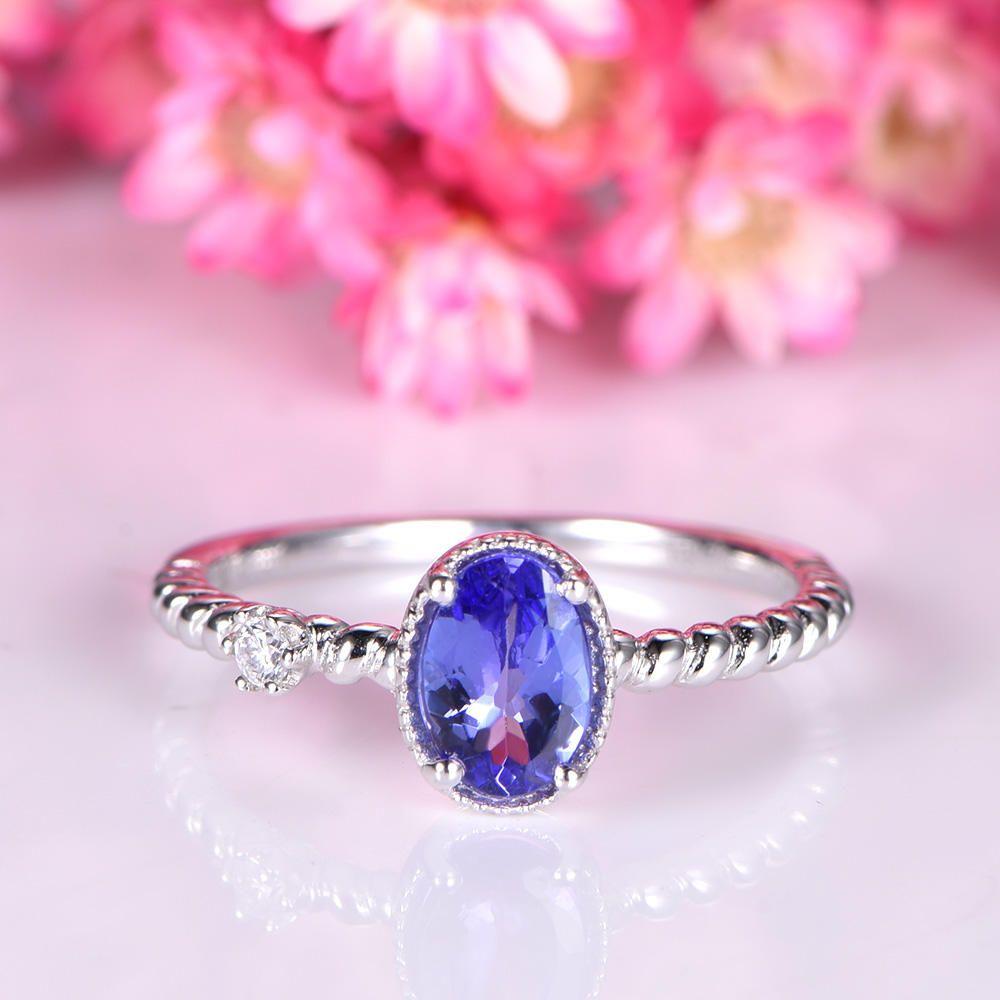 Natural tanzanite ring 5x7mm oval cut tanzanite engagement ring ...
