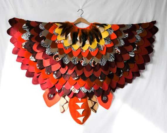 Red Bird Costume Cape / Bird Wings / Owl Costume - hand made to order in the colours of your choice