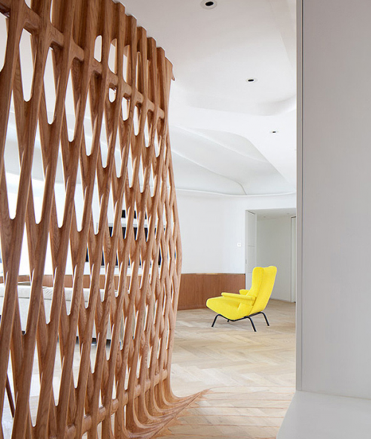 Room Separation Ideas Design Part - 29: Decoration, Fascinating Room Partitions Idea Unique Shaped Design Bamboo  Materials With Contemporary Yellow Chair: Make This Room Dividers Ideas For  Your ...