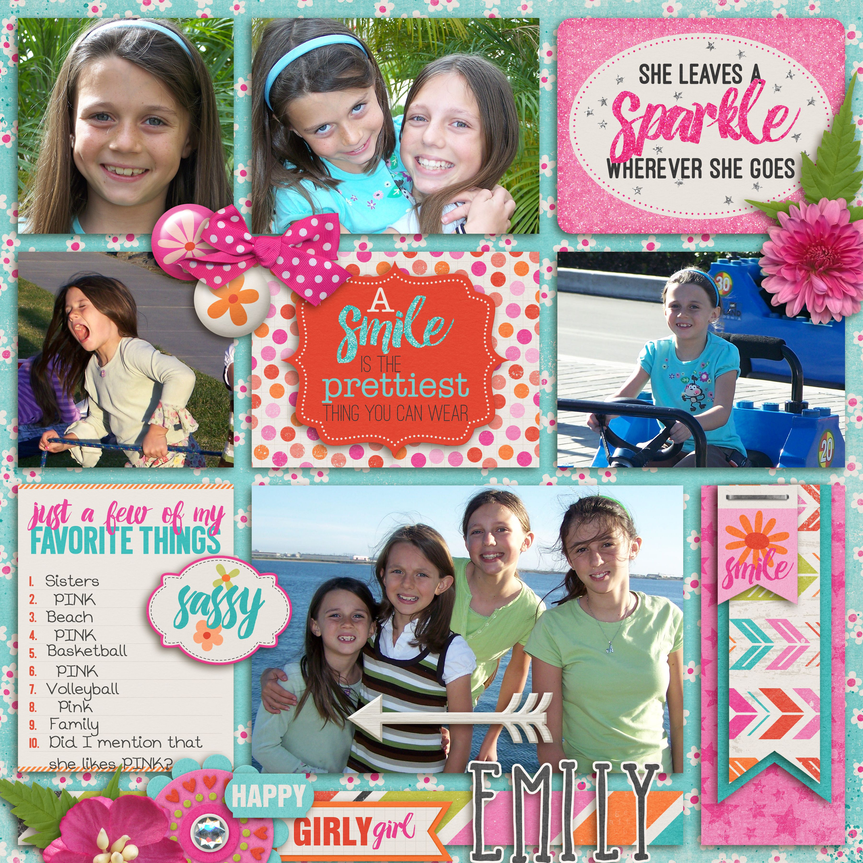 Such a sweetheart!!  We love our Emily! I used BOY MEETS GIRL BUNDLE from DIGILICIOUS DESIGNS found here:  http://www.sweetshoppedesigns.com/sweetshoppe/product.php?productid=30731&cat=748&page=1 and a template from Connie Princes Project 2015 May Collection found here:  http://store.gingerscraps.net/Project-2015-May-12x12-Temps-CU-Ok.html