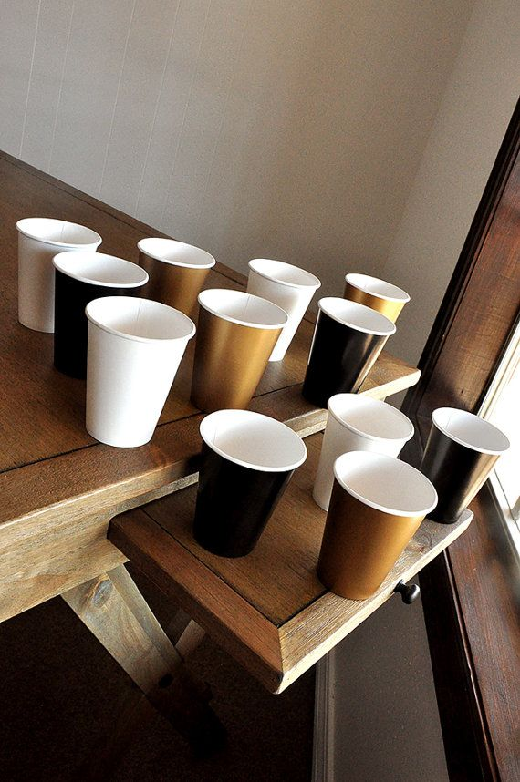 New Years Eve Party Supplies Paper Party Cups Black, White and Gold