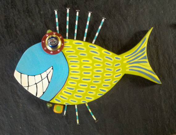 Whimsical Wooden Fish Tropical Nautical Wall Art by WRSCRAFTS ...