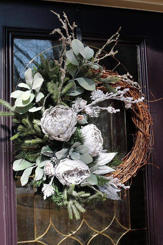 Winter wreaths for front door Frosted peonies