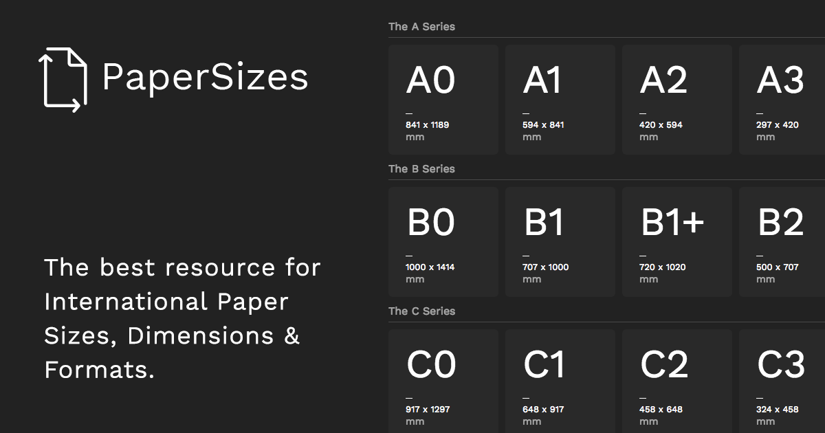 A simple, free resource for finding the international standards for paper sizes.