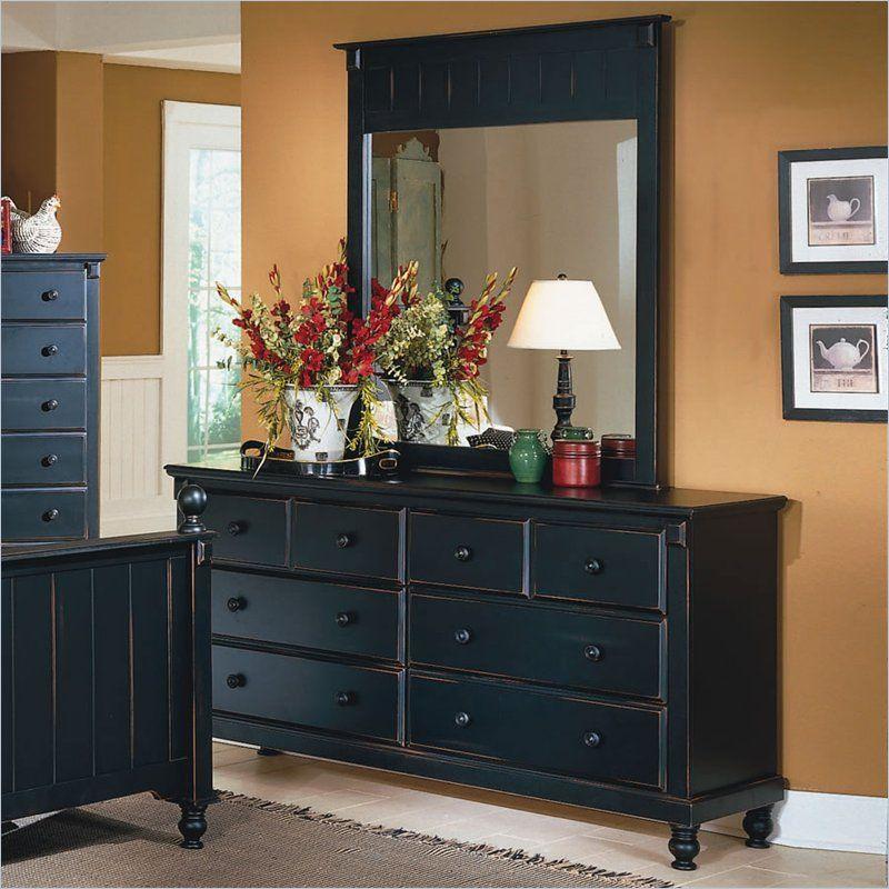 Homelegance Pottery Black Dresser And Mirror Set 875 5 6