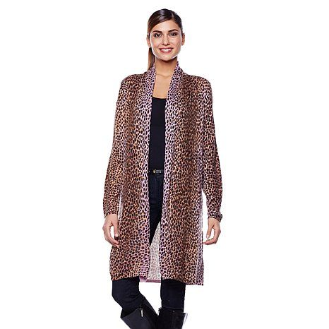 Cozy Chic by Jamie Gries Leopard-Print Sweater Duster