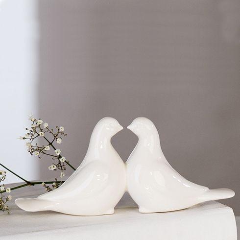 Tauben Hochzeit aus Keramik  Cake topper