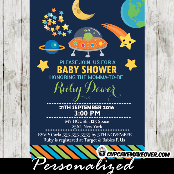 Outer Space Themed Baby Shower Invitation, Personalized   D2