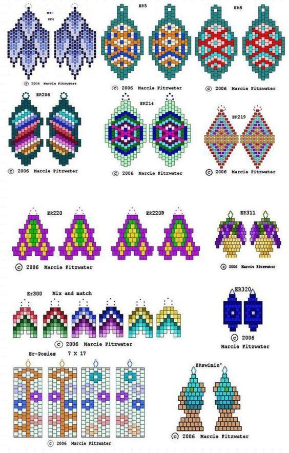 Patrones para Aretes de Chaquira, Puntada Peyote   Manualidades ...