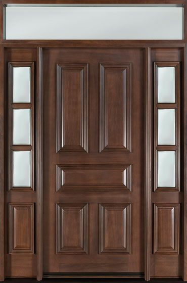 Mahogany Solid Wood Front Entry Door   Single With 2 Sidelites W/ Transom