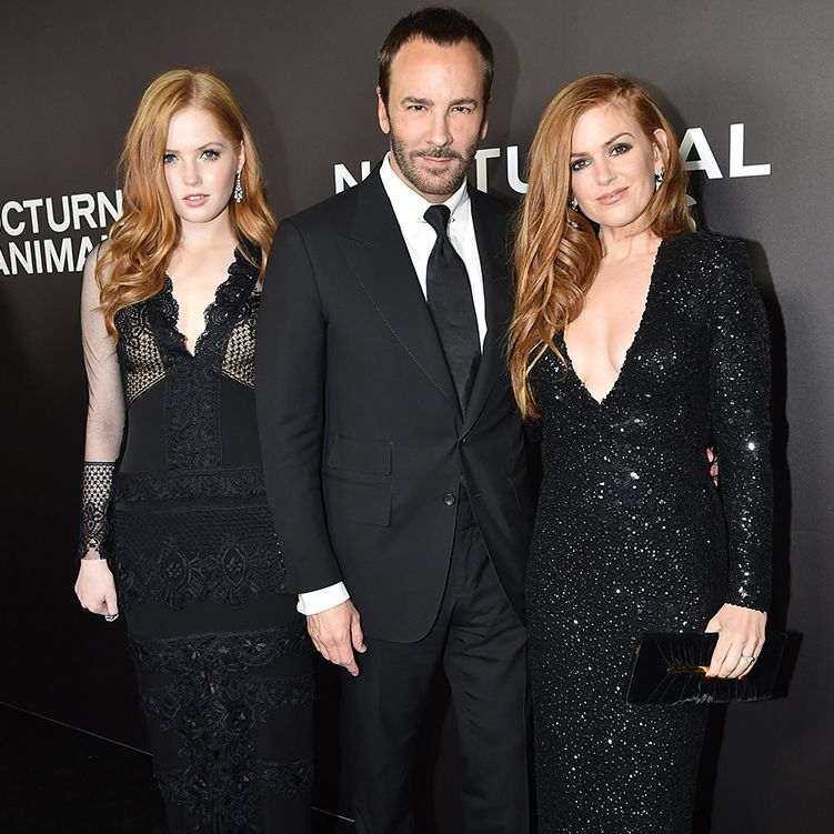 Tom Ford, Ellie Bamber, and Isla Fisher in TOM FORD at the New York City premiere of 'Nocturnal Animals'. #TOMFORD #NocturnalAnimals