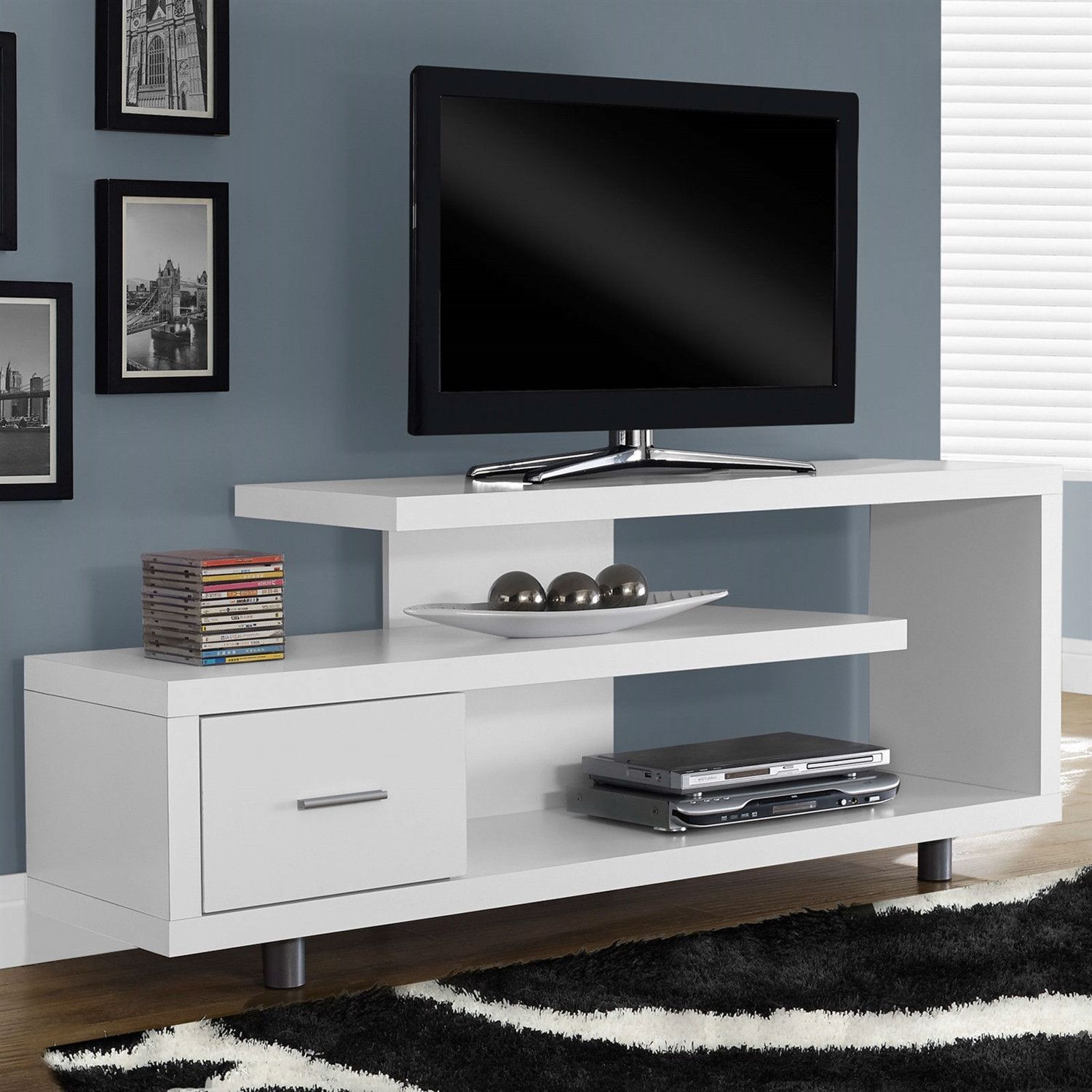White Modern Tv Stand Fits Up To 60 Inch Flat Screen Tv Flat  # Decor Television Moderne