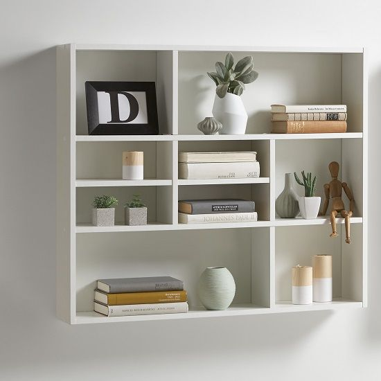 Andreas Wall Mounted Shelving Unit In White Wall Shelving Units