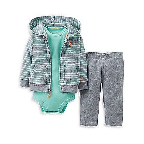 This adorable Hooded Pant Set by Carter's has everything your baby needs for an easy outfit including a solid bodysuit, cozy pull-on pants, and a hooded, zip-front cardigan with cute fox embroidery.
