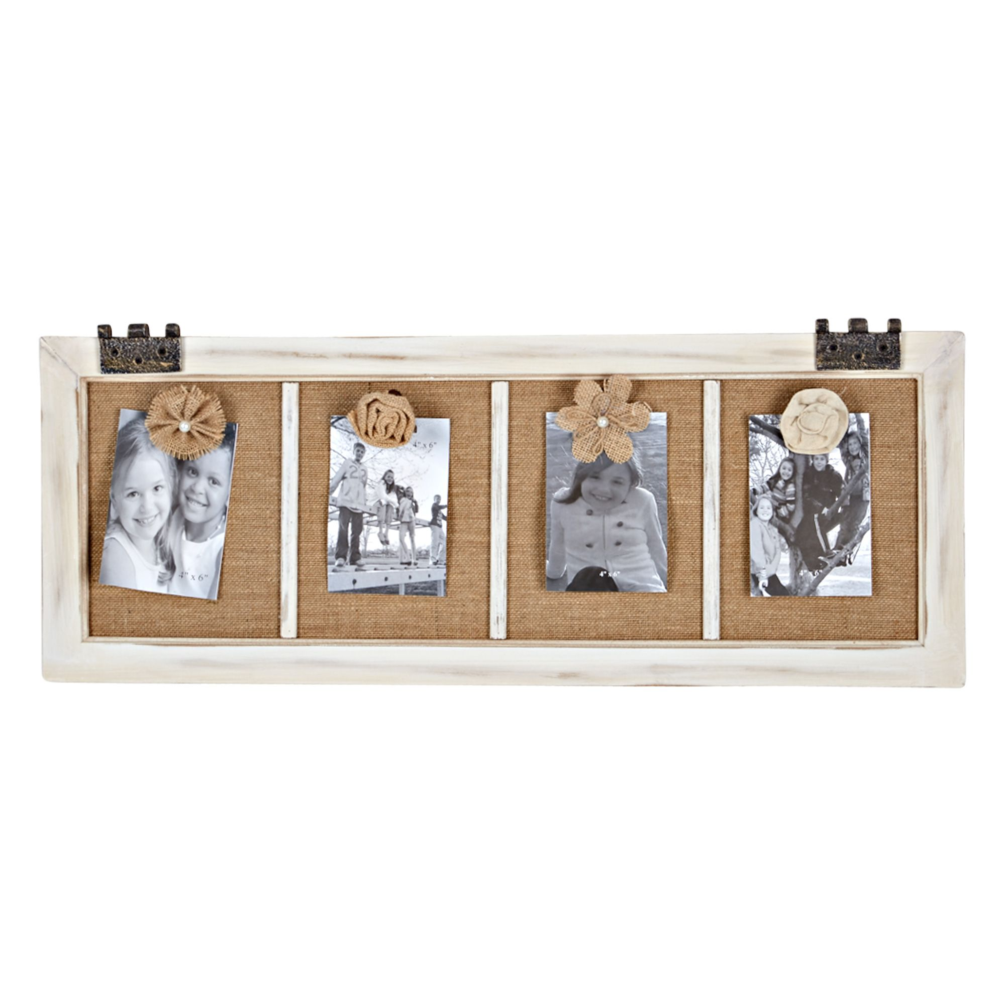4 Opening Burlap And Flowers Collage Frame 30 X 12 Collage Frames Frame Burlap
