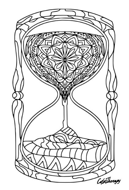 Zentangle Hourglass coloring page on ColorTherapy App