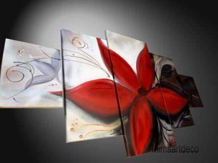 Tableau moderne fleur rouge peinture pinterest - Peinture fleur moderne ...
