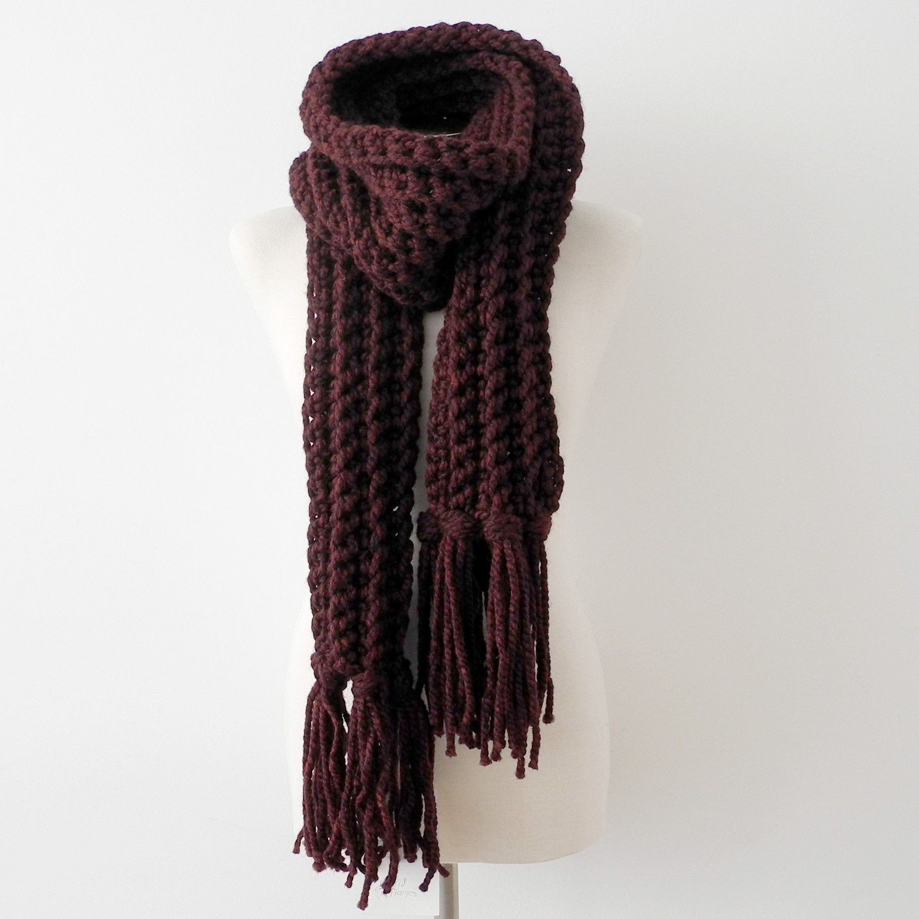Sjaal Handknit sjaal cranberry <3