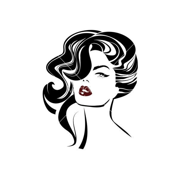 Vintage Woman Face Fashion And Hair Icon Vector Liked On Polyvore Featuring People Vintage Drawing Woman Drawing Woman Face