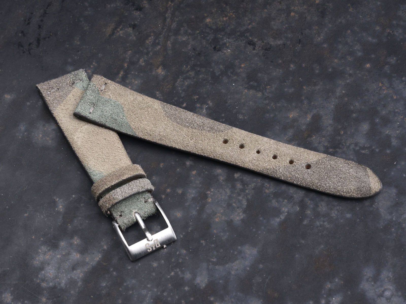 dd038347a2a Hand-made Suede Dark Camo Leather Strap by Bulang   Sons