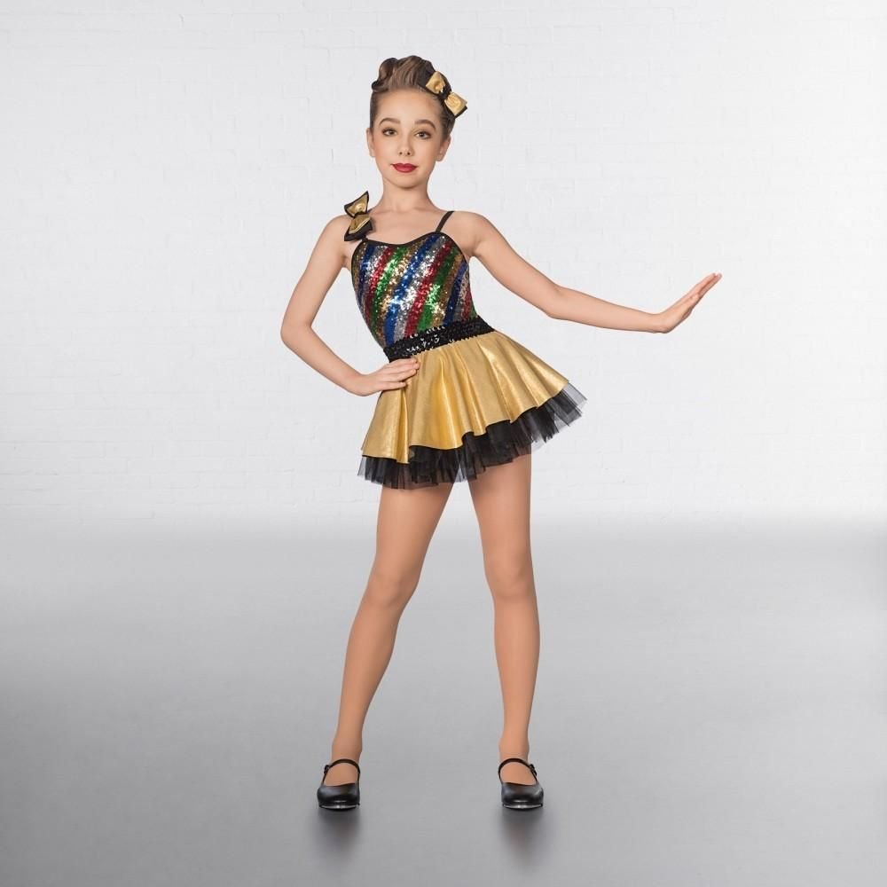 34281a80a7d8 1st Position Multi Stripe Bow Glitz Dress | Jazz | Ballet costumes ...