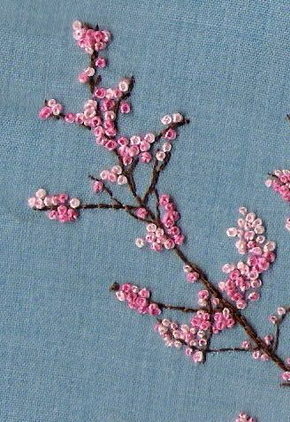 cherry blossom. i freaking need to make a big cherry blossom tree of maybe a forest because the colours are perfect and it would look freaking gorgeous. also, french knots are easy | See more about French Knots, Cherry Blossoms and Knot.