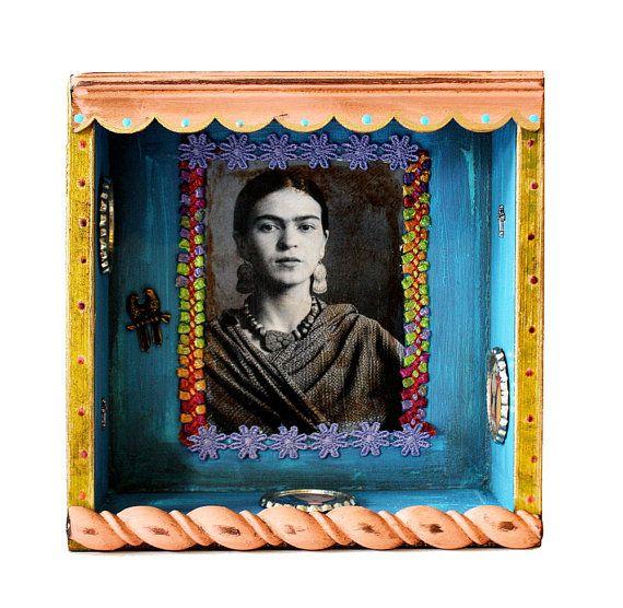 Frida Kahlo    Mixed Media Nicho Shrine Wall Retablo by FlorLarios, $65.00
