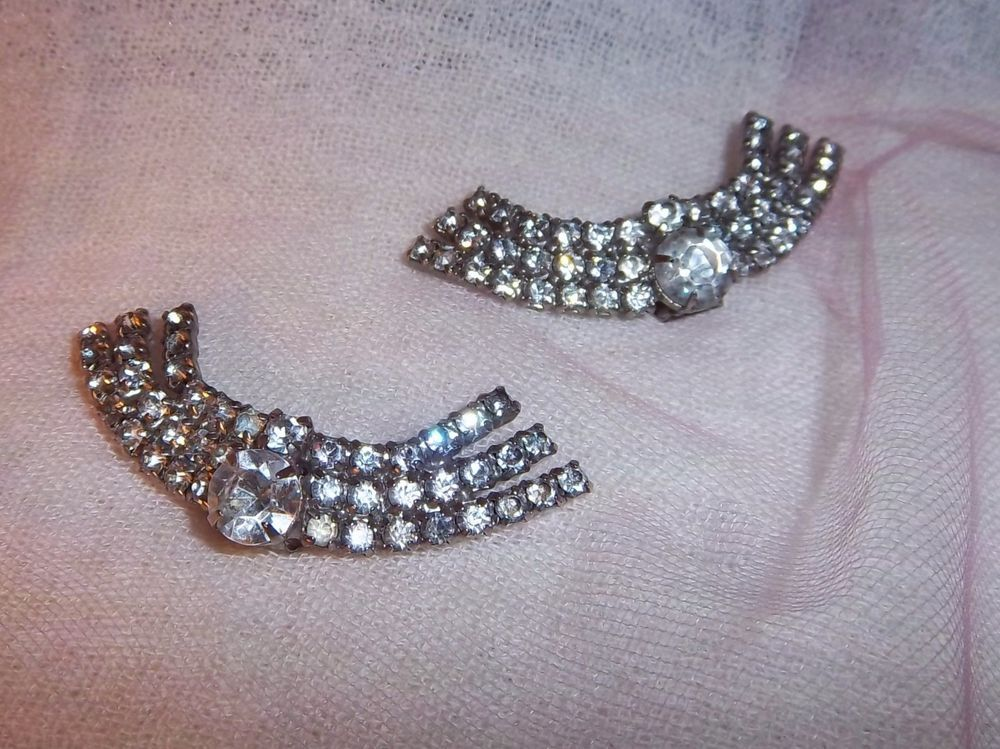 Vintage Clear Rhinestone Shoe Clips, 1950s, $6.50